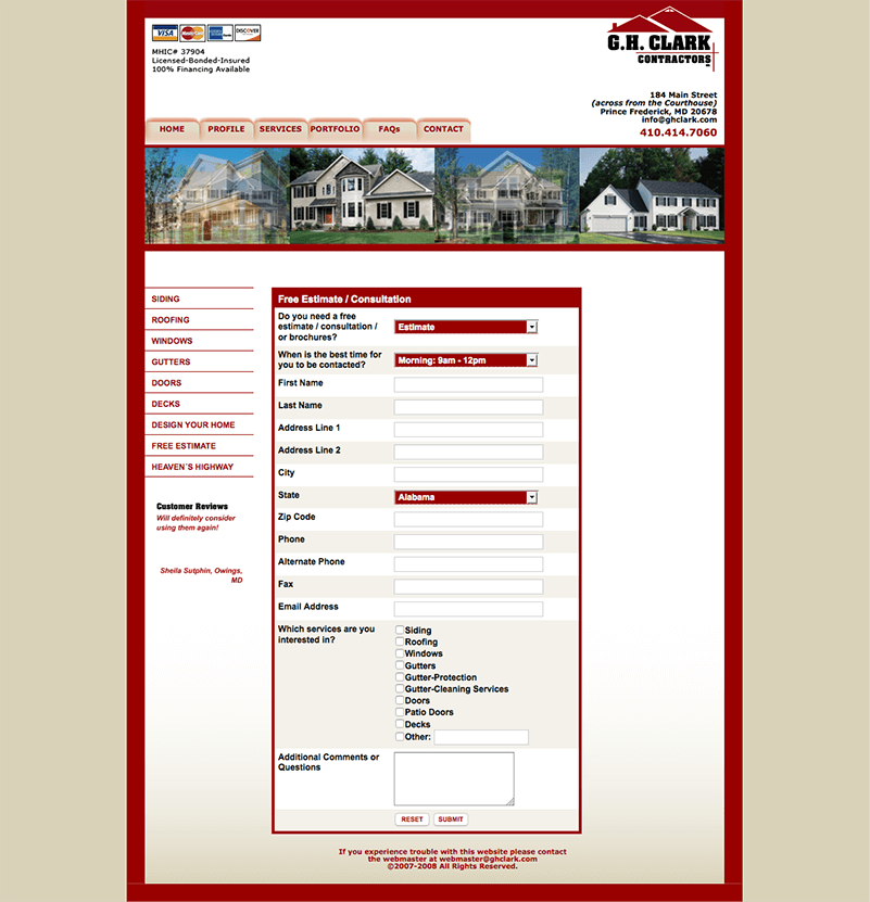 GH Clark Construction Website