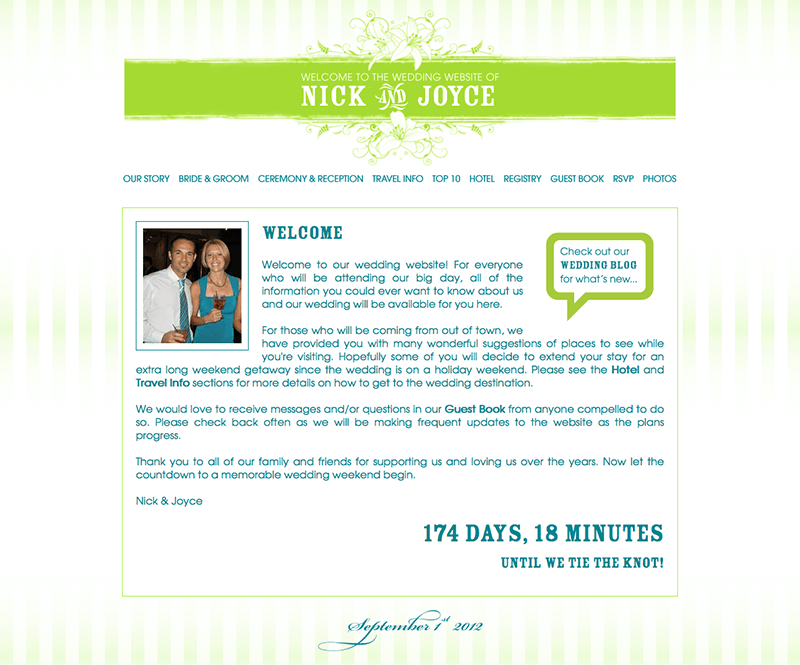 Nick and Joyce Wedding Website